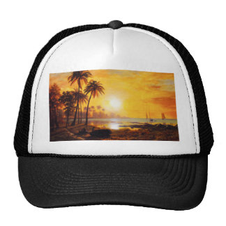 Tropical Sunset with Fishing Boats Hat
