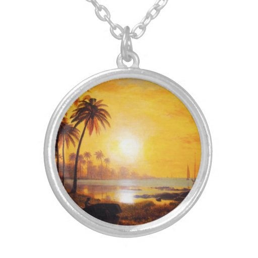 Tropical Sunset with Fishing Boats Necklace
