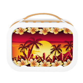 Tropical sunset with palms lunch box