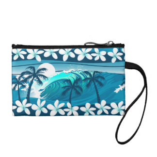 Tropical surf wave with palm trees coin purse