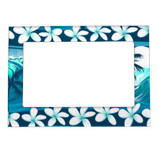 Tropical surf wave with palm trees magnetic frame
