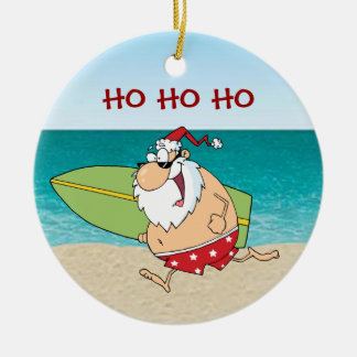 Tropical Surfing Santa Christmas Ornament