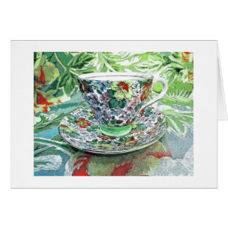 Tropical Tea Cup Blank Card-Thank you/Bon Voyage Card