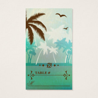 Tropical Teal  Beach Wedding Reception Place cards