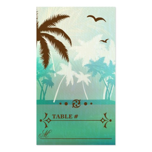 Tropical Teal  Beach Wedding Reception Place cards Business Card Template