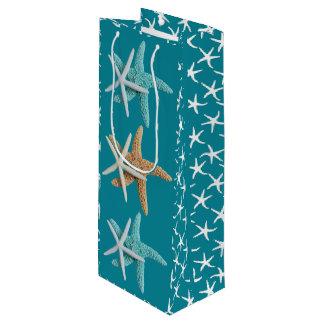 Tropical Teal Blue Starfish Couple Gift Bag