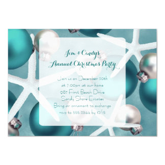 Tropical Teal Christmas Party Invitation
