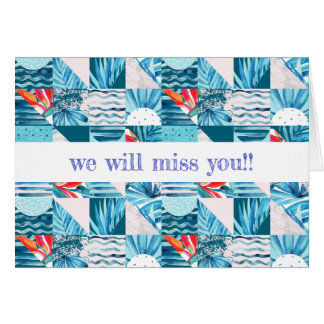 Tropical Teal Geometric Abstract Pattern Card
