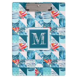 Tropical Teal Geometric Abstract Pattern Clipboard