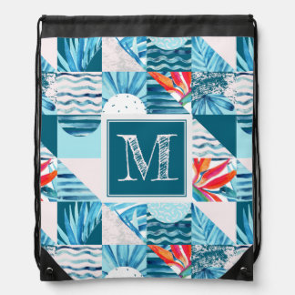 Tropical Teal Geometric Abstract Pattern Drawstring Bag