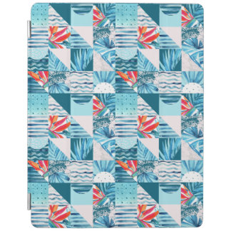 Tropical Teal Geometric Abstract Pattern iPad Cover