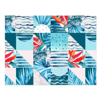 Tropical Teal Geometric Abstract Pattern Postcard