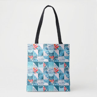Tropical Teal Geometric Abstract Pattern Tote Bag