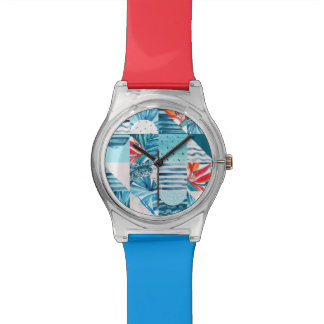 Tropical Teal Geometric Abstract Pattern Watch