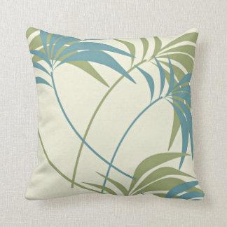Tropical Teal, Khaki & Ivory Palm Tree Cushion
