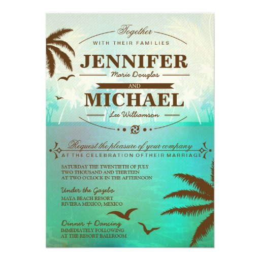 Tropical Teal Scenic Beach Wedding Invitations