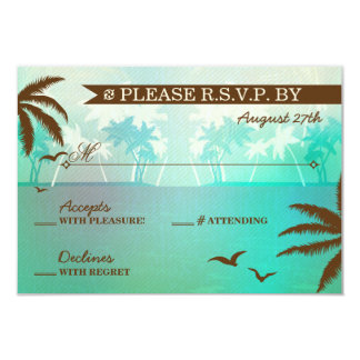 Tropical Teal Scenic Beach Wedding RSVP Card