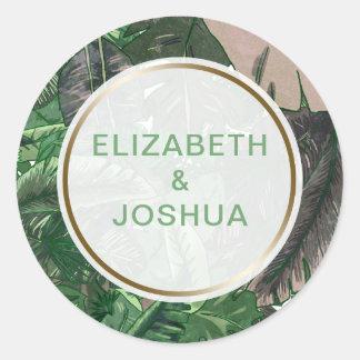 Tropical Terrain botanical greenery wedding Classic Round Sticker