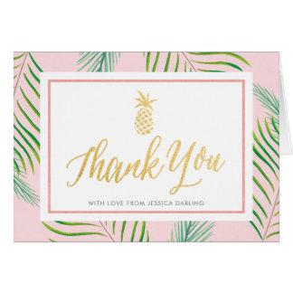 Tropical Thank You Cards   Pink & Gold Pineapple