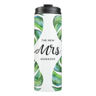 Tropical The New Mrs Calligraphy Script Thermal Tumbler