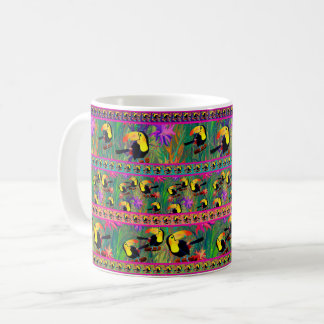 TROPICAL TOUCAN BIRD STRIPES COFFEE MUG