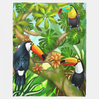 Tropical Toucan Birds Fleece Blanket