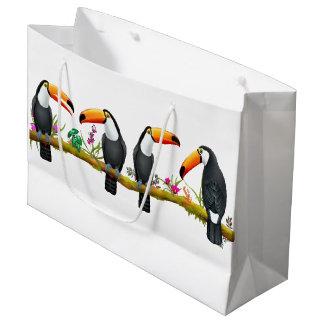 Tropical Toucan Birds Large Gift Bag