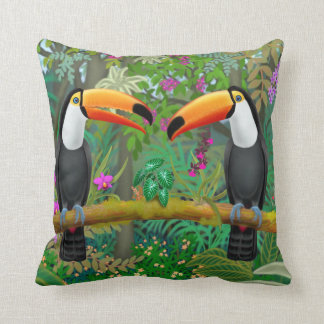 Tropical Toucan Birds Throw Pillow
