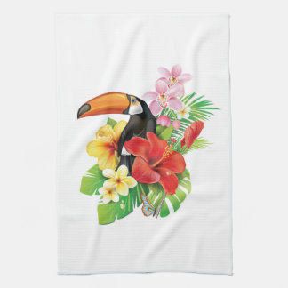 Tropical Toucan Collage Kitchen Towel