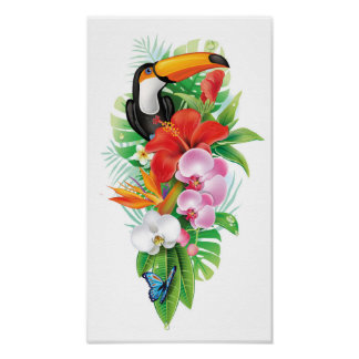 Tropical Toucan Collage (right) Poster