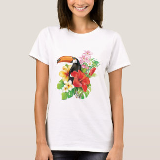 Tropical Toucan Collage White T-Shirt