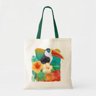 Tropical Toucan Hibiscus Watercolor Floral Tote Bag