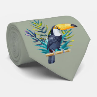 Tropical Toucan in Blues on Moss Green Tie
