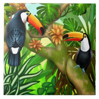 Tropical Toucan Jungle Ceramic Tile