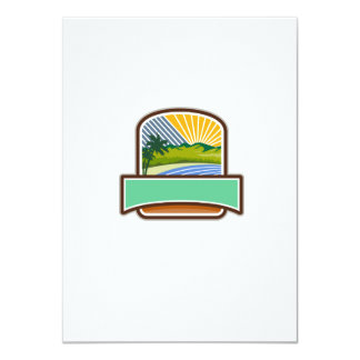 Tropical Trees Mountains Sea Coast Crest Retro 11 Cm X 16 Cm Invitation Card