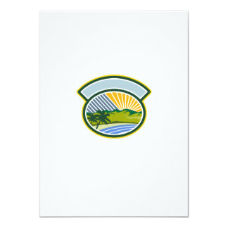 Tropical Trees Mountains Sea Coast Oval Retro 11 Cm X 16 Cm Invitation Card