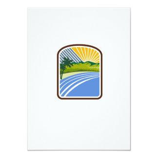 Tropical Trees Mountains Sea Coast Rectangle Retro 11 Cm X 16 Cm Invitation Card