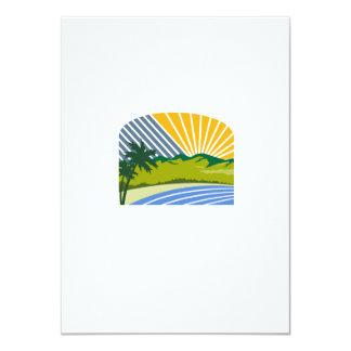 Tropical Trees Mountains Sea Coast Retro 11 Cm X 16 Cm Invitation Card