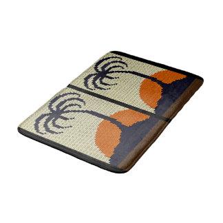 Tropical Trees Orange Sunset Texture Crochet Bath Mat