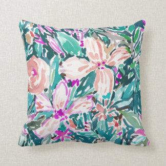 TROPICAL TREK Floral Watercolor 2-SIDED Cushion