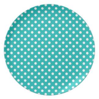 Tropical Turquoise and White Polka Dot Party Plates