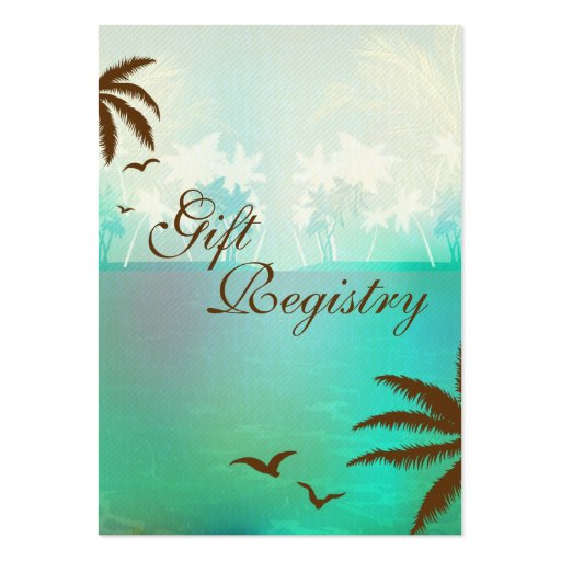 Tropical Turquoise Beach Gift Registry Cards Business Card Templates