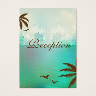Tropical Turquoise Beach Wedding Reception Cards