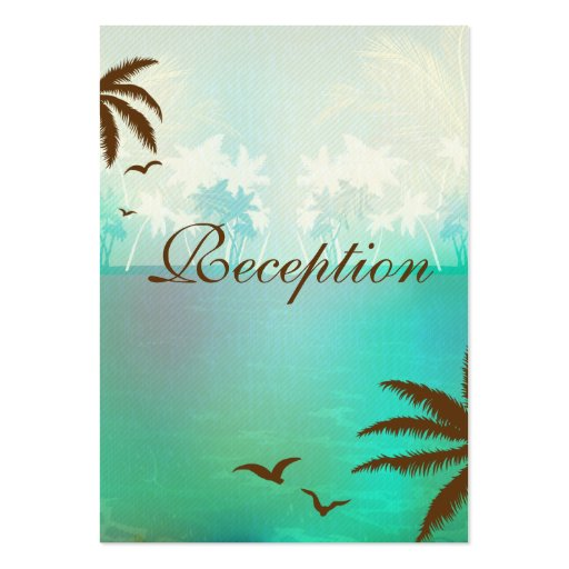 Tropical Turquoise Beach Wedding Reception Cards Business Card Templates