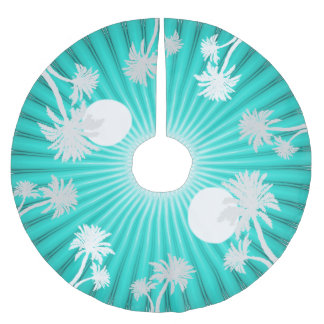 Tropical Turquoise Palm Trees Christmas Skirt Brushed Polyester Tree Skirt
