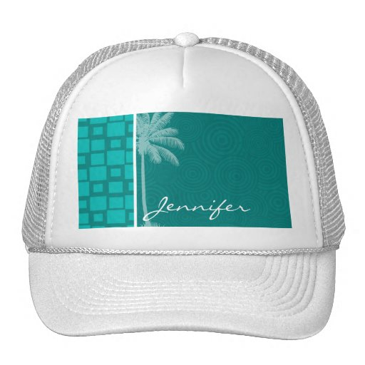 Tropical Turquoise Squares Hat