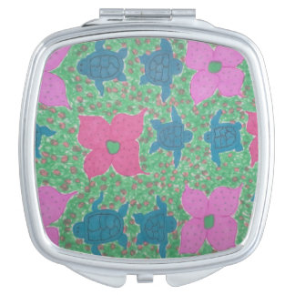 Tropical Turtles and Flowers Compact Mirror