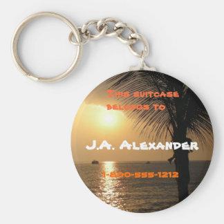 Tropical Twilight Sunset Basic Round Button Key Ring