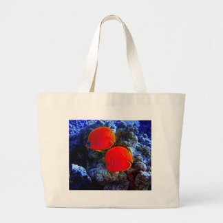 Tropical Undersea Fish Swimming In Coral Large Tote Bag