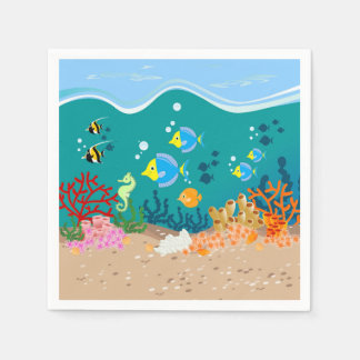 Tropical undersea scene birthday party disposable serviette